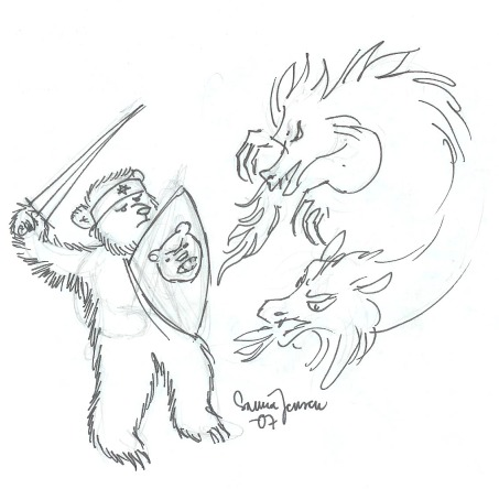 Bear fighting a Dragon